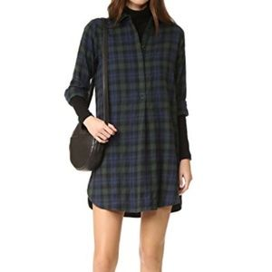 Madewell NWT Flannel Shirt Dress Side Button Med